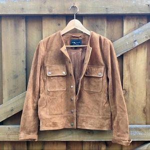 Lucky Brand Suede Pocket Jacket Sz S Cognac $ firm